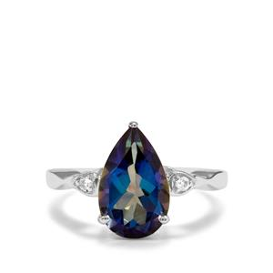 Mystic Blue Topaz Ring with White Topaz in Sterling Silver 3.89cts