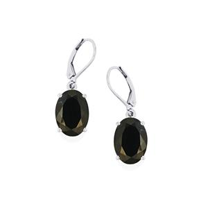 Black Spinel Earrings in Sterling Silver 16.20cts