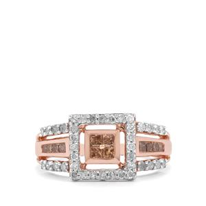 3/4ct Champagne & White Diamond 9K Rose Gold Tomas Rae Ring