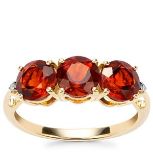 Madeira Citrine Ring with Diamond in 10k Gold 2.12cts