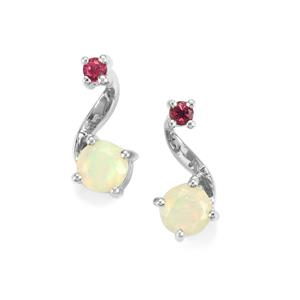 Ethiopian Opal Earrings with Cruzeiro Rubellite in Sterling Silver 0.83cts