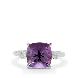 Rose De France Amethyst Ring with White Zircon in Sterling Silver 4.16cts