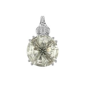 Prasiolite & White Topaz Sterling Silver Cupid Pendant ATGW 6.35cts