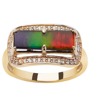 AA Ammolite & White Zircon 9K Gold Ring (14x5mm)