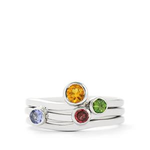 0.62ct Exotic Gem Sterling Silver Set of 3 Stacker Rings