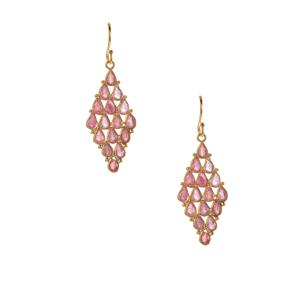 Thai Ruby Earrings in Gold Tone Sterling Silver 8cts