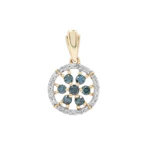 Blue Diamond Pendant with White Diamond in 9K Gold 0.26ct