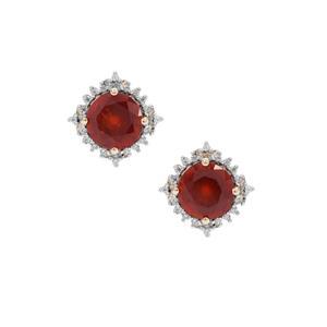 Gooseberry Grossular Garnet & White Zircon 9K Gold Earrings ATGW 4.95cts