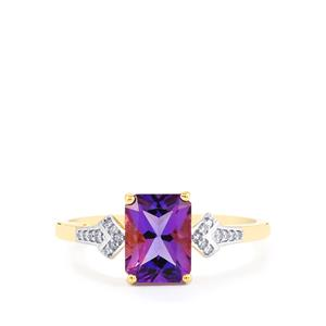 Kenyan Amethyst Ring with Diamond in 10k Gold 1.38cts
