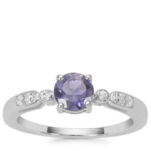 Bengal Iolite Ring with White Zircon in Sterling Silver 0.70ct