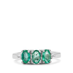 Itabira Emerald Ring with White Zircon in Sterling Silver 1.26cts