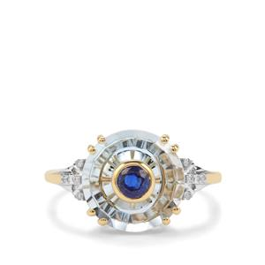 Lehrer Iris Sky Blue Topaz, Daha Kyanite Ring with Diamond in 10K Gold 5.33cts