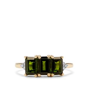 Chrome Diopside & Diamond 9K Gold Ring ATGW 1.87cts
