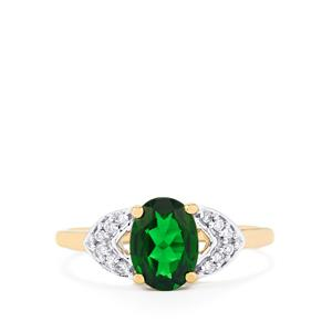 Chrome Diopside Ring with Diamond in 14k Gold 1.38cts
