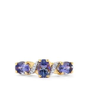 Bi Color Tanzanite Ring with White Zircon in 10k Gold 2.15cts