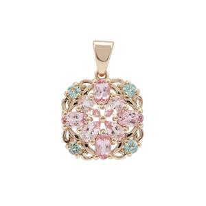 Aquaiba™ Beryl Pendant with Cherry Blossom™ Morganite in 9K Gold 1.86cts