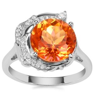 Padparadscha Quartz Ring with White Zircon in Sterling Silver 3.80cts