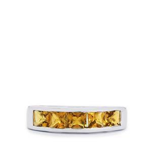 Yellow Tourmaline Ring in Sterling Silver 1.72cts