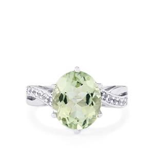 Prasiolite Ring with White Topaz in Sterling Silver 4.44cts
