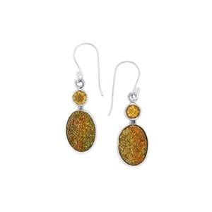 Spectropyrite Drusy & Diamantina Citrine Sterling Silver Aryonna Earrings ATGW 11cts