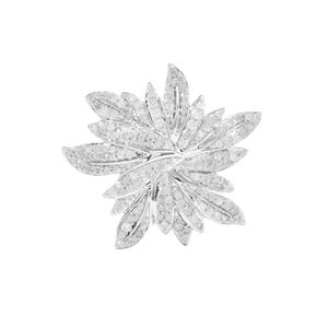 1.28ct Diamond Sterling Silver Brooch