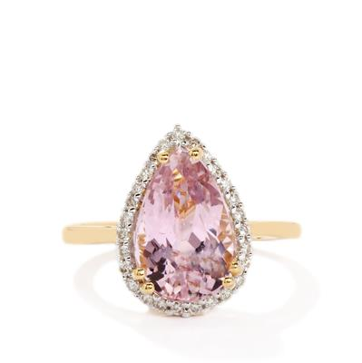 MINAS GERAIS KUNZITE AND DIAMOND 18K GOLD RING 4.45CTS