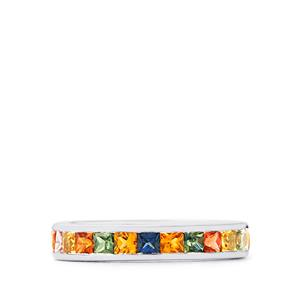 Songea Rainbow Sapphire Ring in Sterling Silver 3cts