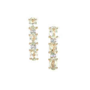Alexandrite Earrings with Diamond in 9K Gold 1.58cts