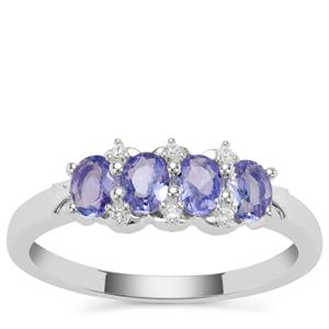 Tanzanite Ring with White Zircon in Sterling Silver 0.71cts