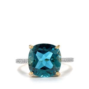 Marambaia London Blue Topaz Ring with White Zircon in 10K Gold 9.19cts