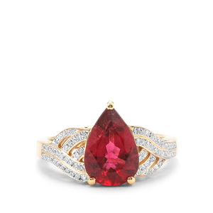 Mawi Rubellite Ring with White Diamond in 18K Gold 2.39cts