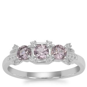 Burmese Spinel Ring with White Zircon in Sterling Silver 1.10cts