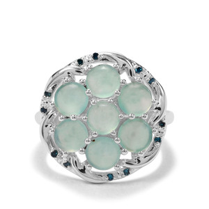 Gem-Jelly Aquaprase™ & Blue Diamond Sterling Silver Ring ATGW 3.53cts