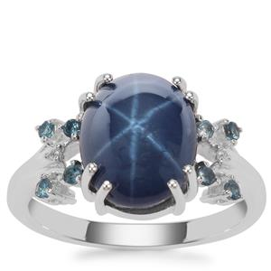 Madagascan Blue Star Sapphire, Marambaia London Blue Topaz Ring with White Zircon in Sterling Silver 6.04cts