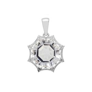 Mirror of Paradise Cut Optic Quartz & White Zircon Sterling Silver Pendant ATGW 7.70cts