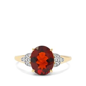 Madeira Citrine & Diamond 9K Gold Ring ATGW 2.22cts