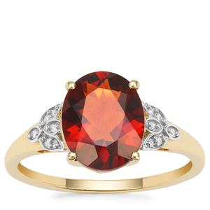 Madeira Citrine Ring with Diamond in 9K Gold 2.22cts