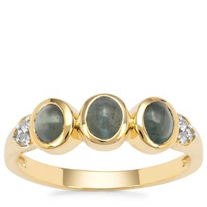 Cats Eye Alexandrite Ring with White Zircon in 9K Gold 1.35cts