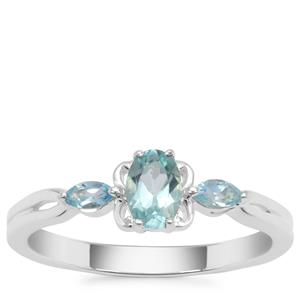 Madagascan Blue Apatite Ring with Swiss Blue Topaz in Sterling Silver 0.56ct