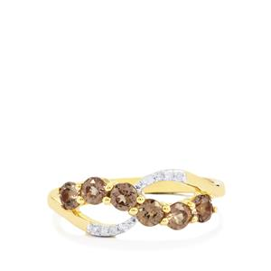 Bekily Color Change Garnet Ring with Diamond in 10k Gold 0.91ct