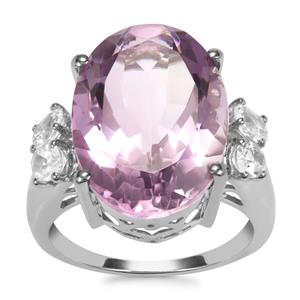 Rose De France Amethyst Ring with White Topaz in Sterling Silver 11.72cts