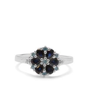 Australian Blue Sapphire, London Blue Topaz & White Zircon Sterling Silver Ring ATGW 1.10cts