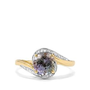 Bi Colour Tanzanite Ring with Diamond in 9K Gold 1.68cts