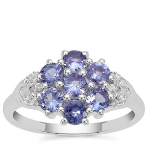 Tanzanite Ring with White Zircon in Sterling Silver 1.25cts