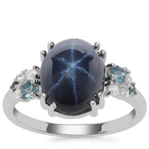 Madagascan Blue Star Sapphire, Marambaia London Blue Topaz Ring with White Zircon in Sterling Silver 6.28cts