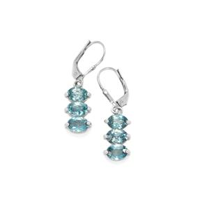 Ratanakiri Blue Zircon Earrings in Sterling Silver 6.41cts