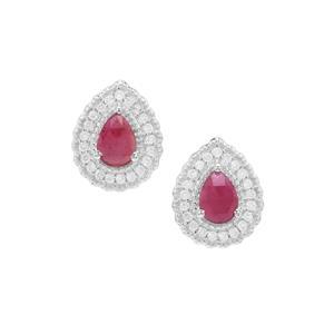 Rose Cut Malagasy Ruby & White Zircon Sterling Silver Earrings ATGW 1.80cts (F)