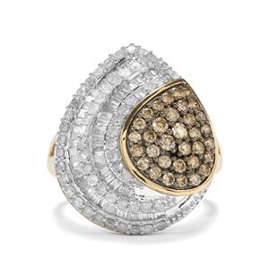 Champagne Diamond Ring with White Diamond in 10K Gold 1.95ct