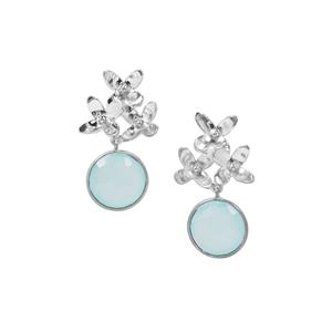 Aqua Chalcedony Earrings in Sterling Silver 18.08cts