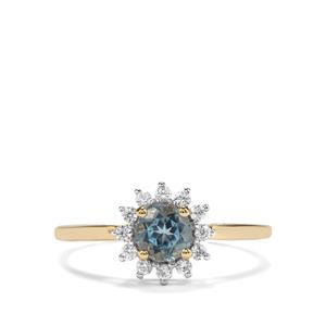 Mozambique Aquamarine & White Zircon 9K Gold Ring ATGW 0.71cts